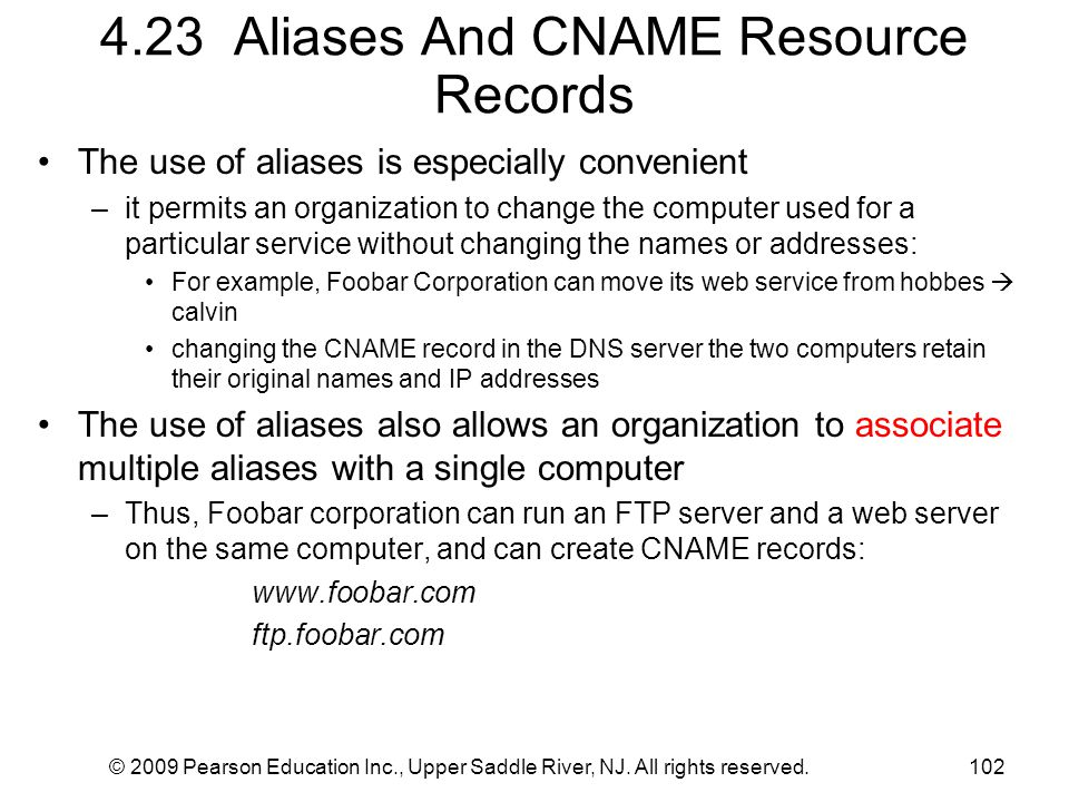 4.23 Aliases And CNAME Resource Records