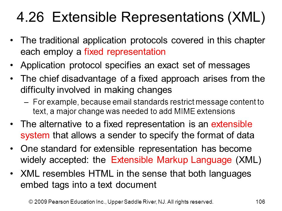 4.26 Extensible Representations (XML)