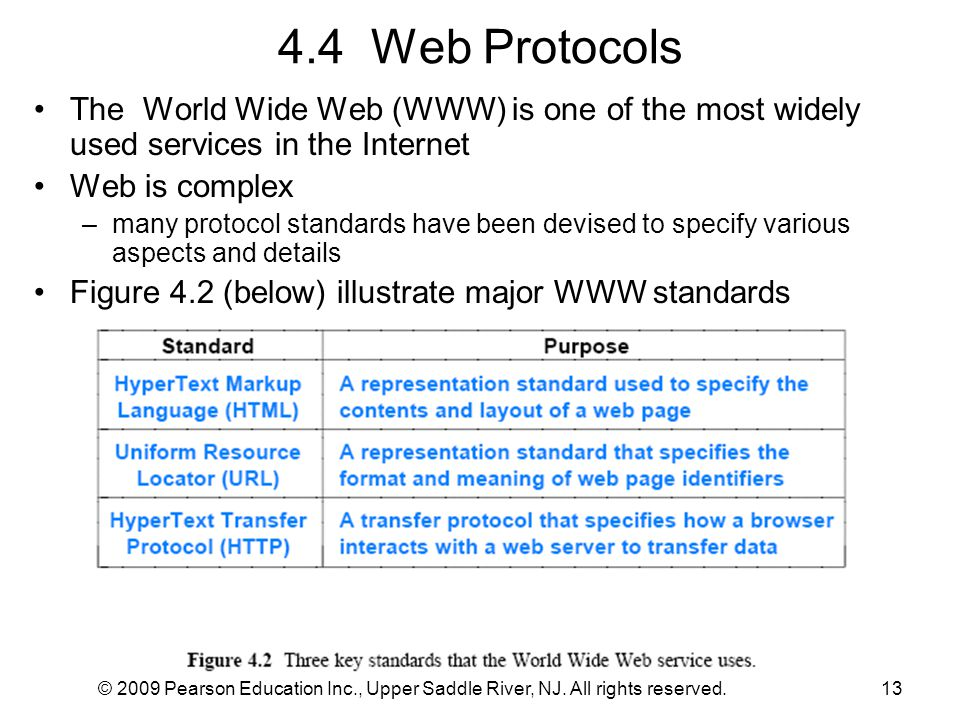 4.4 Web Protocols The World Wide Web (WWW) is one of the most widely used services in the Internet.