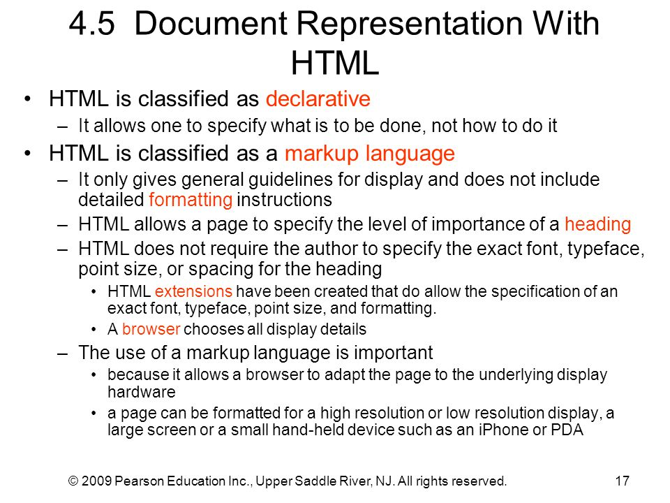 4.5 Document Representation With HTML