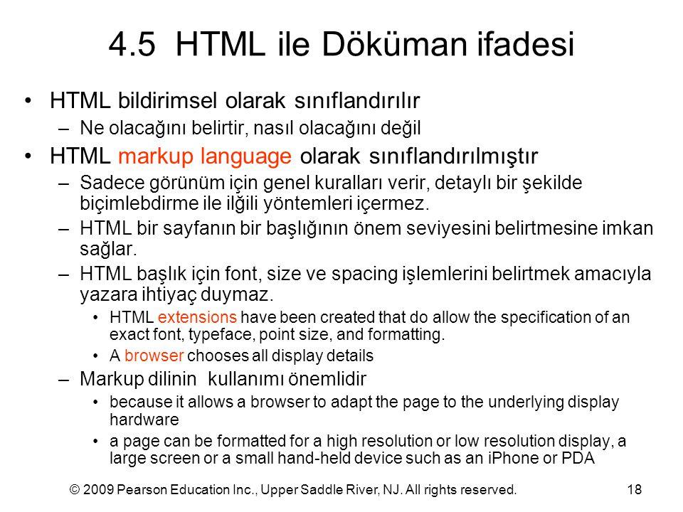 4.5 HTML ile Döküman ifadesi