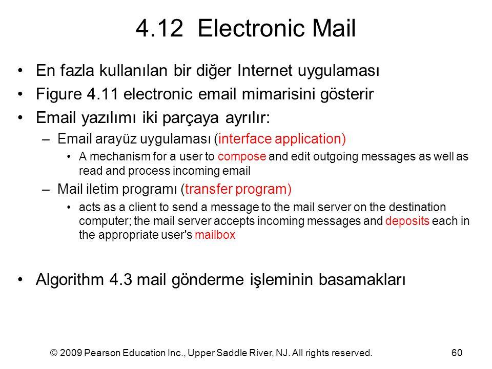 4.12 Electronic Mail En fazla kullanılan bir diğer Internet uygulaması
