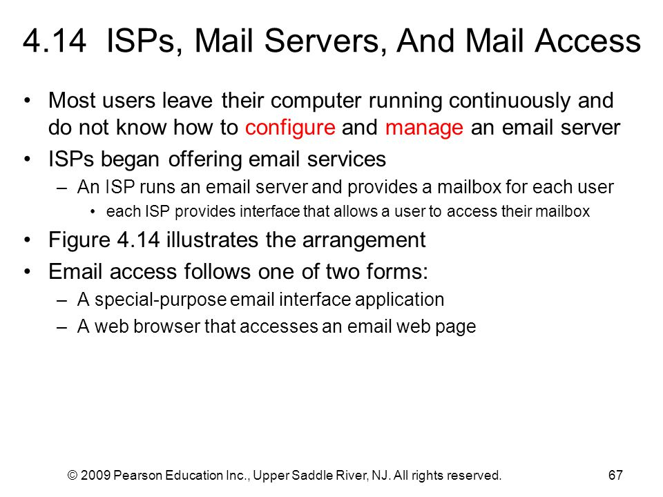 4.14 ISPs, Mail Servers, And Mail Access