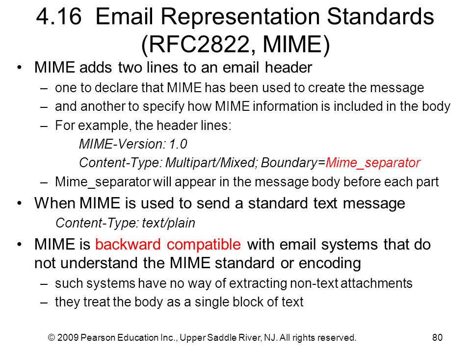 4.16 Email Representation Standards (RFC2822, MIME)