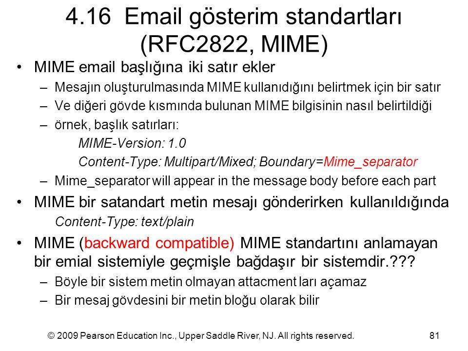 4.16 Email gösterim standartları (RFC2822, MIME)