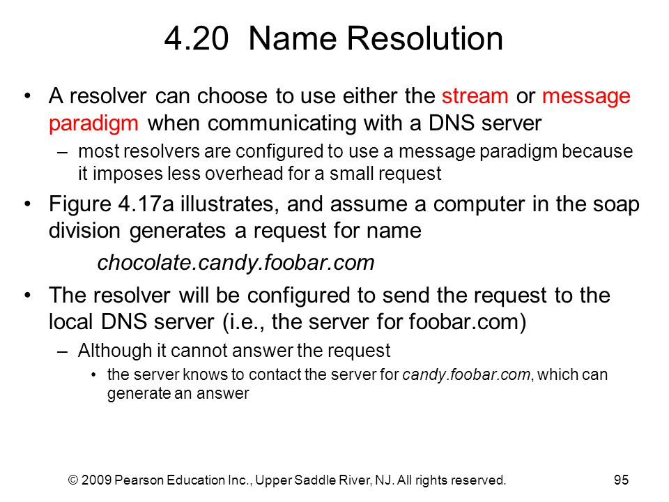 4.20 Name Resolution A resolver can choose to use either the stream or message paradigm when communicating with a DNS server.