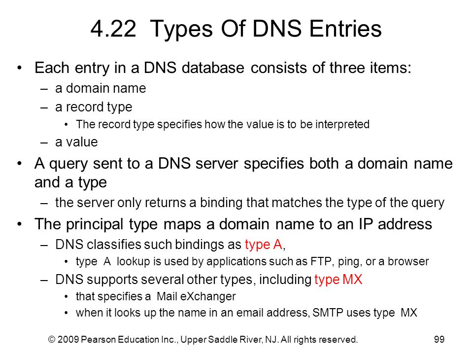 4.22 Types Of DNS Entries Each entry in a DNS database consists of three items: a domain name. a record type.