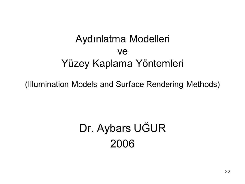 Aydınlatma Modelleri ve Yüzey Kaplama Yöntemleri (Illumination Models and Surface Rendering Methods)