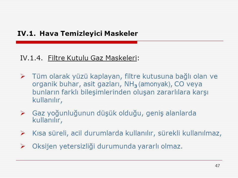 IV.1. Hava Temizleyici Maskeler