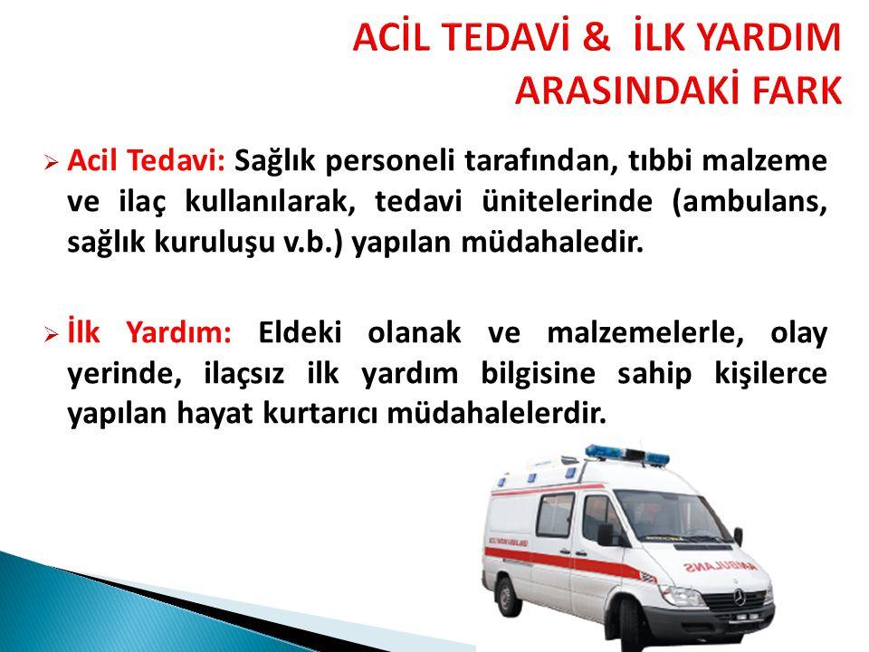 ACİL TEDAVİ & İLK YARDIM ARASINDAKİ FARK