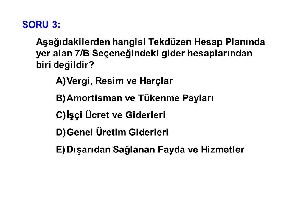 SORU 3: Aşağıdakilerden hangisi Tekdüzen Hesap Planında yer alan 7/B Seçeneğindeki gider hesaplarından biri değildir