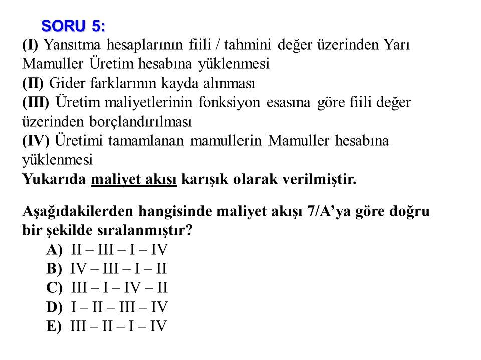 SORU 5: (I) Yansıtma hesaplarının fiili / tahmini değer üzerinden Yarı Mamuller Üretim hesabına yüklenmesi.