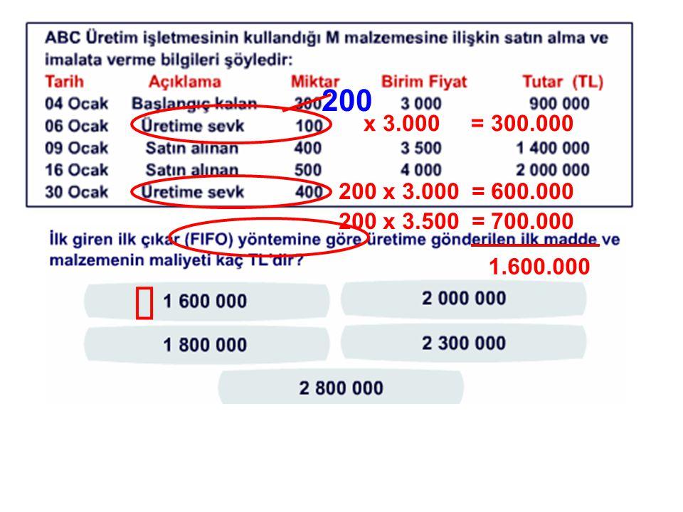 200 x 3.000 = 300.000 200 x 3.000 = 600.000 200 x 3.500 = 700.000 1.600.000 ü
