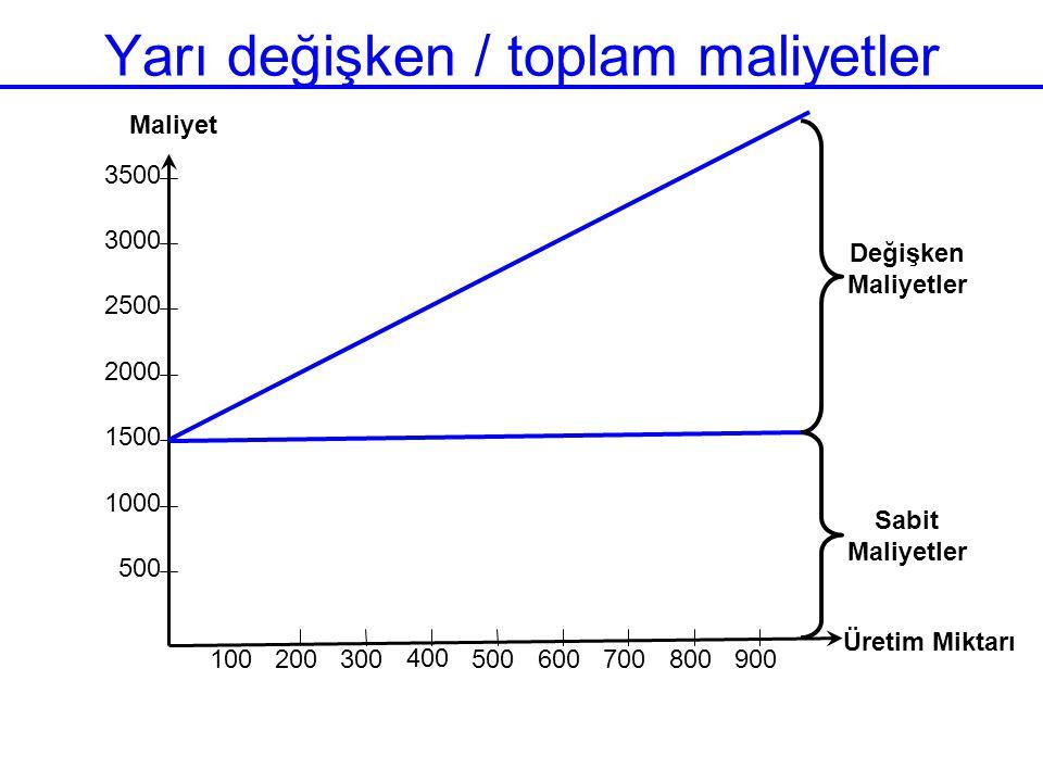 Yarı değişken / toplam maliyetler