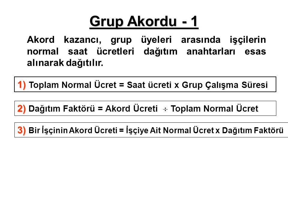 Grup Akordu - 1 Akord kazancı, grup üyeleri arasında işçilerin normal saat ücretleri dağıtım anahtarları esas alınarak dağıtılır.