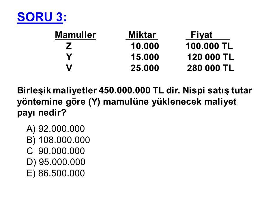 SORU 3: Mamuller Miktar Fiyat . Z 10.000 100.000 TL