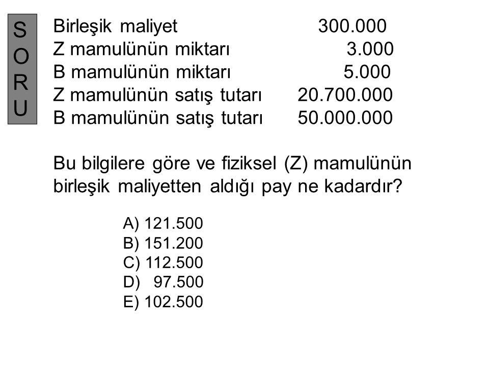 SORU Birleşik maliyet 300.000 Z mamulünün miktarı 3.000
