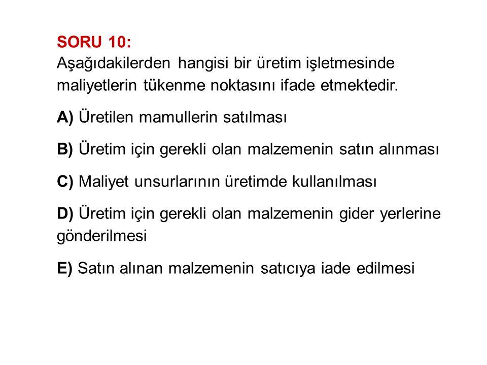 SORU 10: Aşağıdakilerden hangisi bir üretim işletmesinde maliyetlerin tükenme noktasını ifade etmektedir.