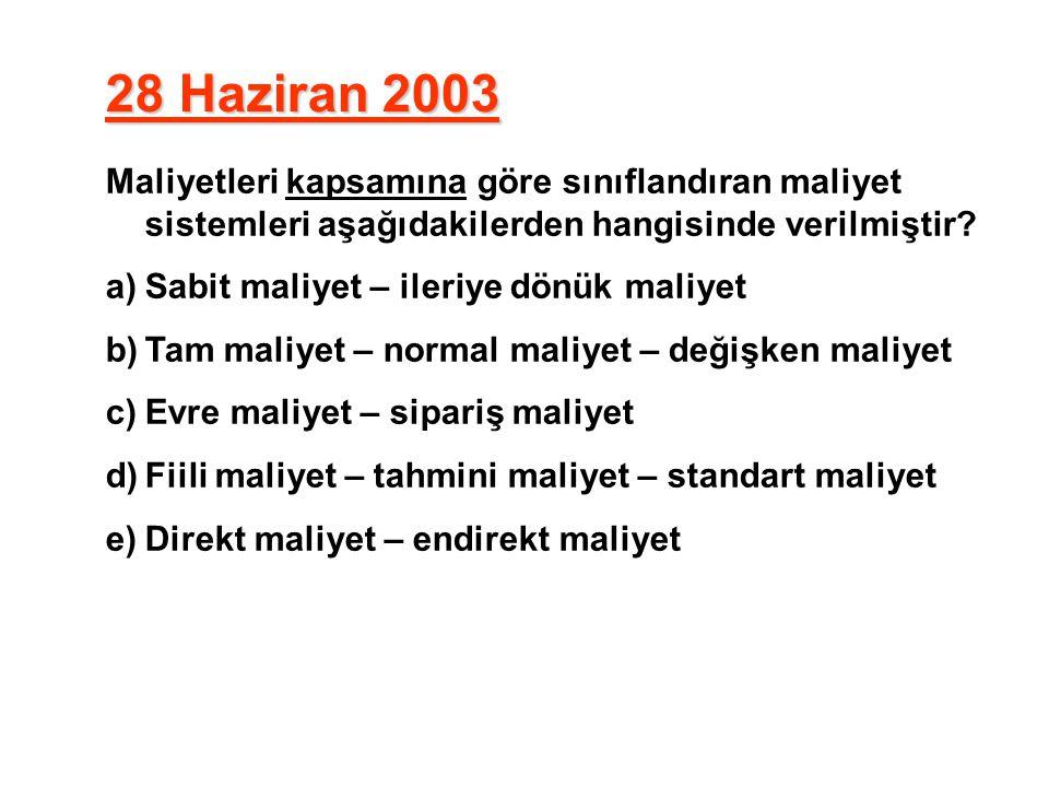 28 Haziran 2003 Maliyetleri kapsamına göre sınıflandıran maliyet sistemleri aşağıdakilerden hangisinde verilmiştir