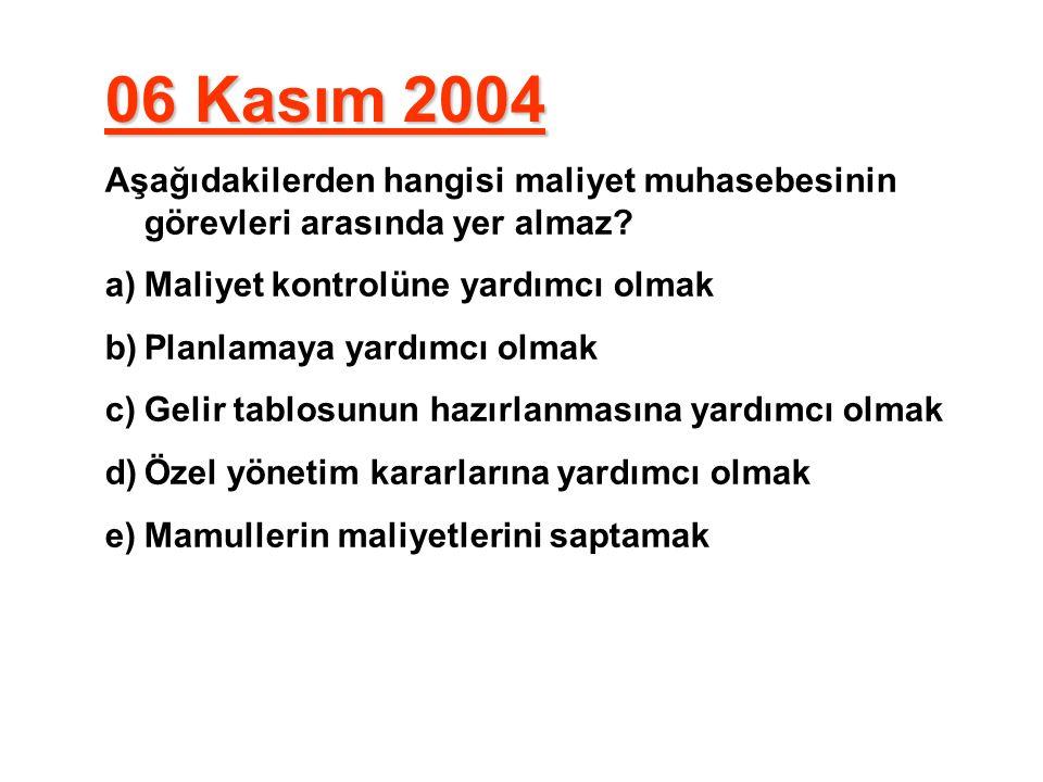 06 Kasım 2004 Aşağıdakilerden hangisi maliyet muhasebesinin görevleri arasında yer almaz Maliyet kontrolüne yardımcı olmak.