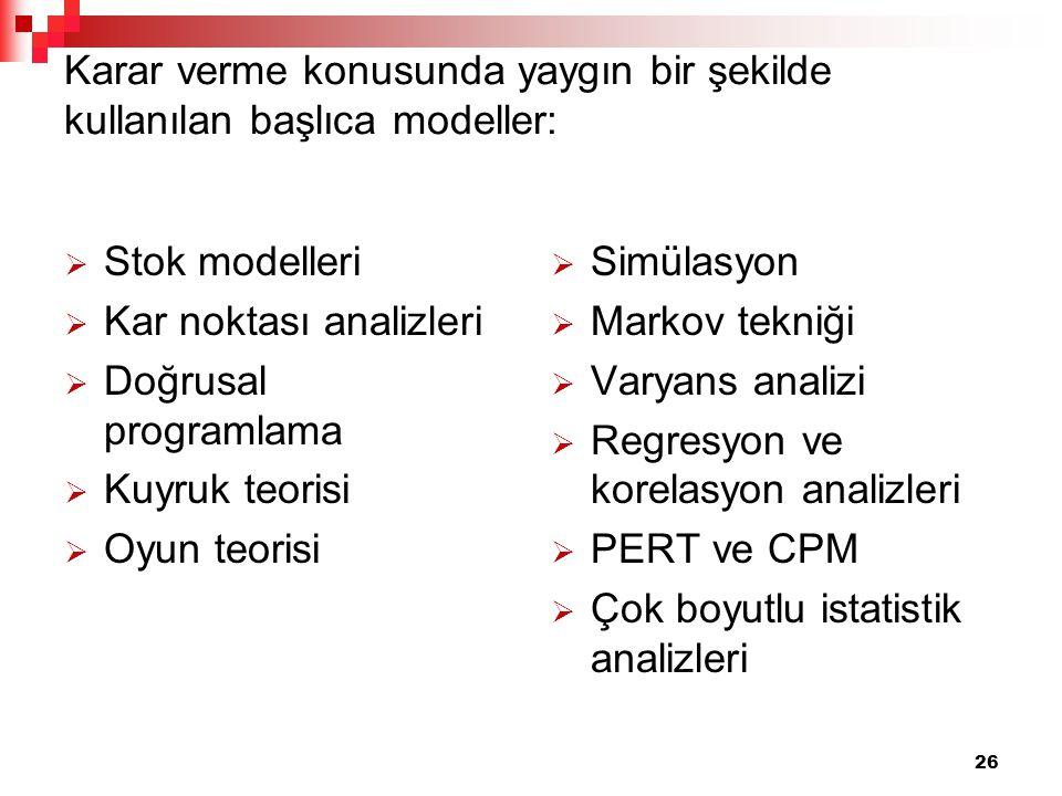 Karar verme konusunda yaygın bir şekilde kullanılan başlıca modeller:
