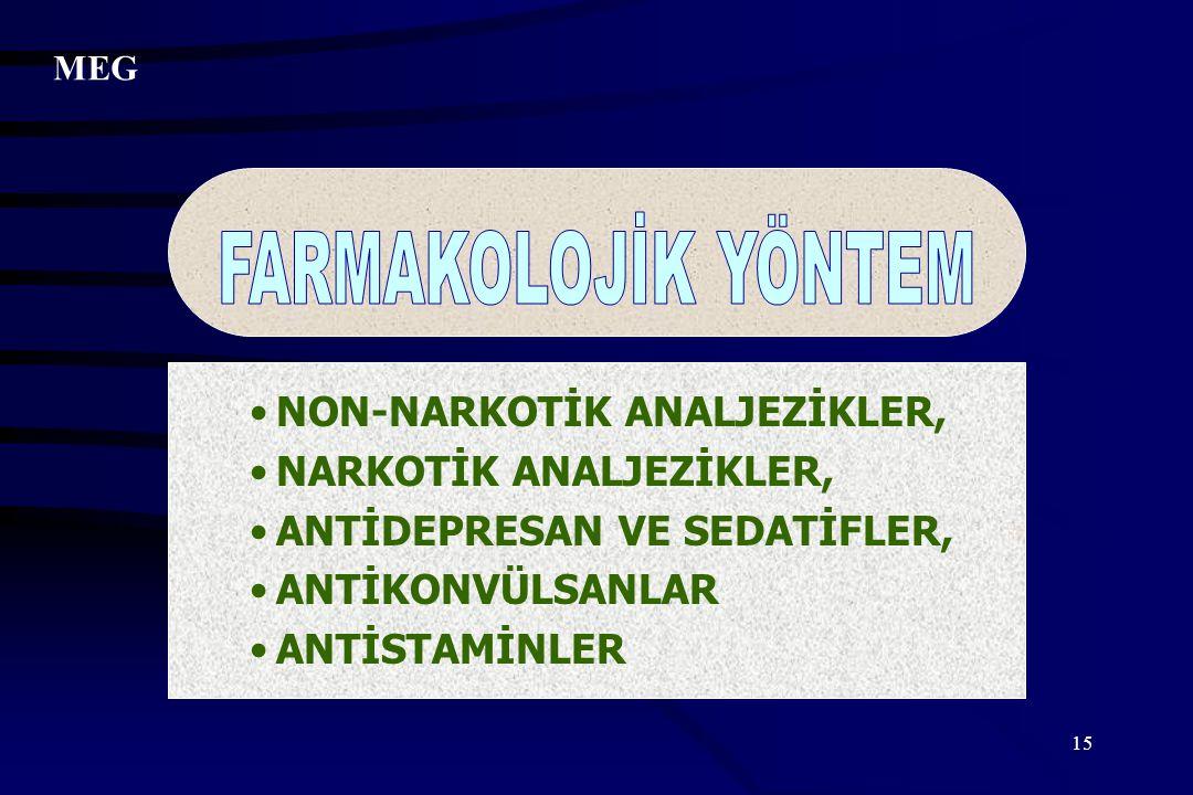 FARMAKOLOJİK YÖNTEM NON-NARKOTİK ANALJEZİKLER, NARKOTİK ANALJEZİKLER,