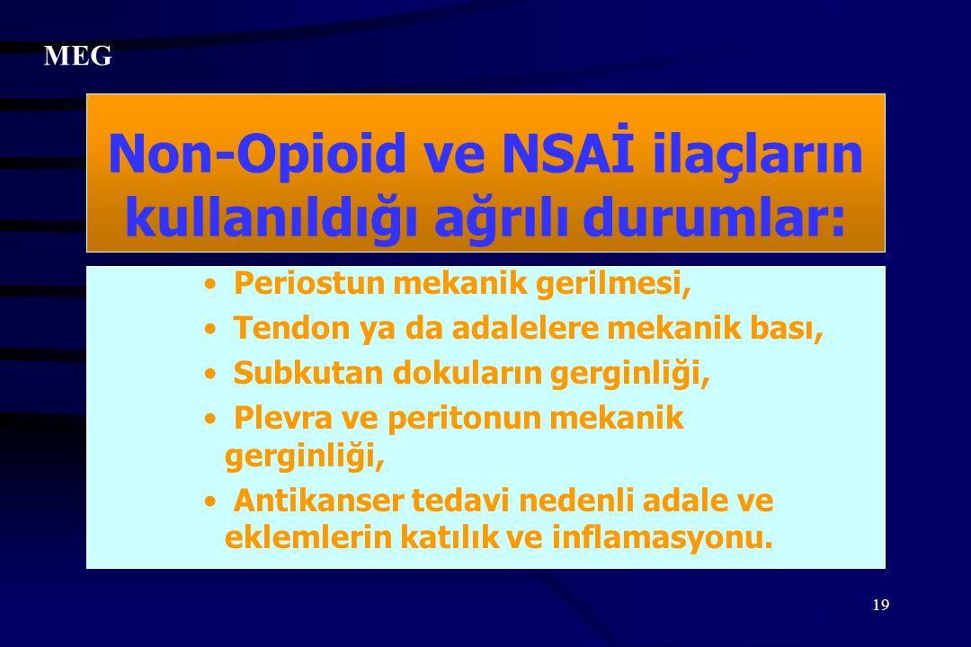 Non-Opioid ve NSAİ ilaçların kullanıldığı ağrılı durumlar: