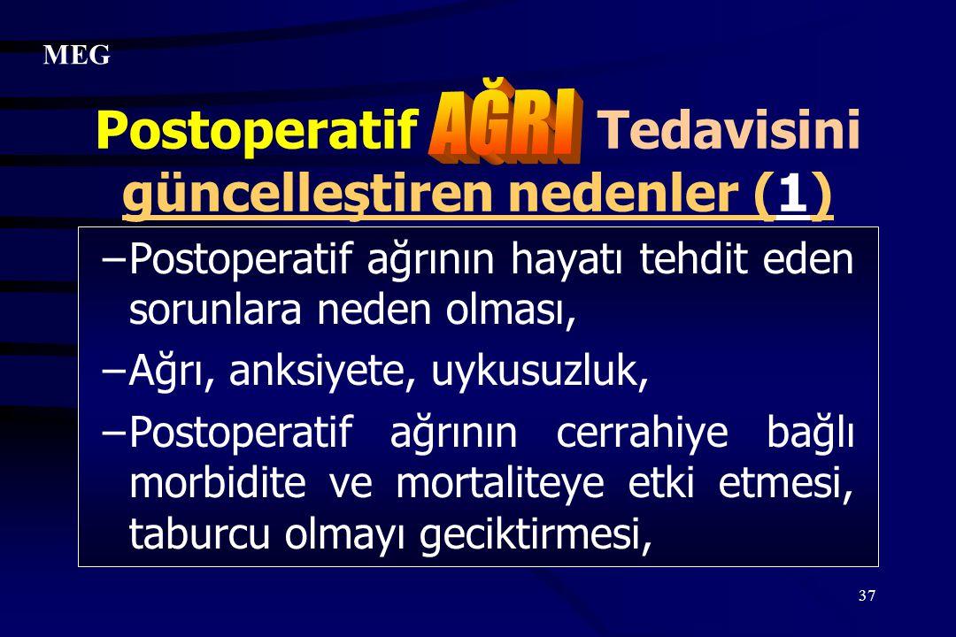 Postoperatif Tedavisini güncelleştiren nedenler (1)