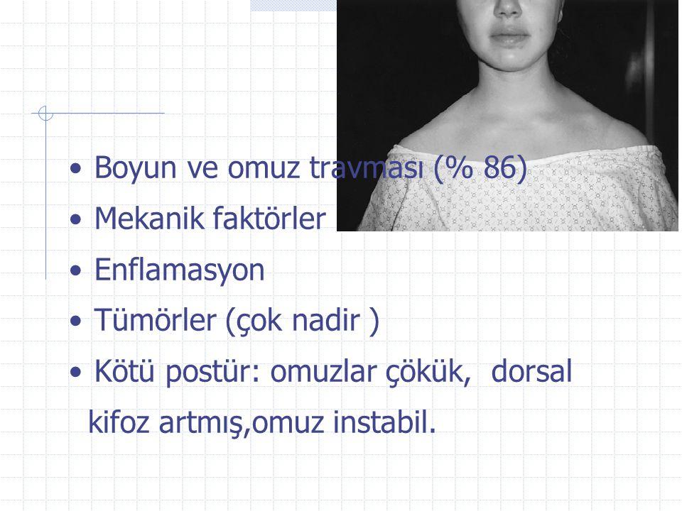 Boyun ve omuz travması (% 86)