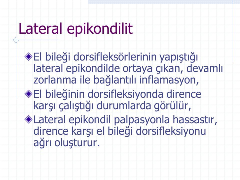Lateral epikondilit El bileği dorsifleksörlerinin yapıştığı lateral epikondilde ortaya çıkan, devamlı zorlanma ile bağlantılı inflamasyon,