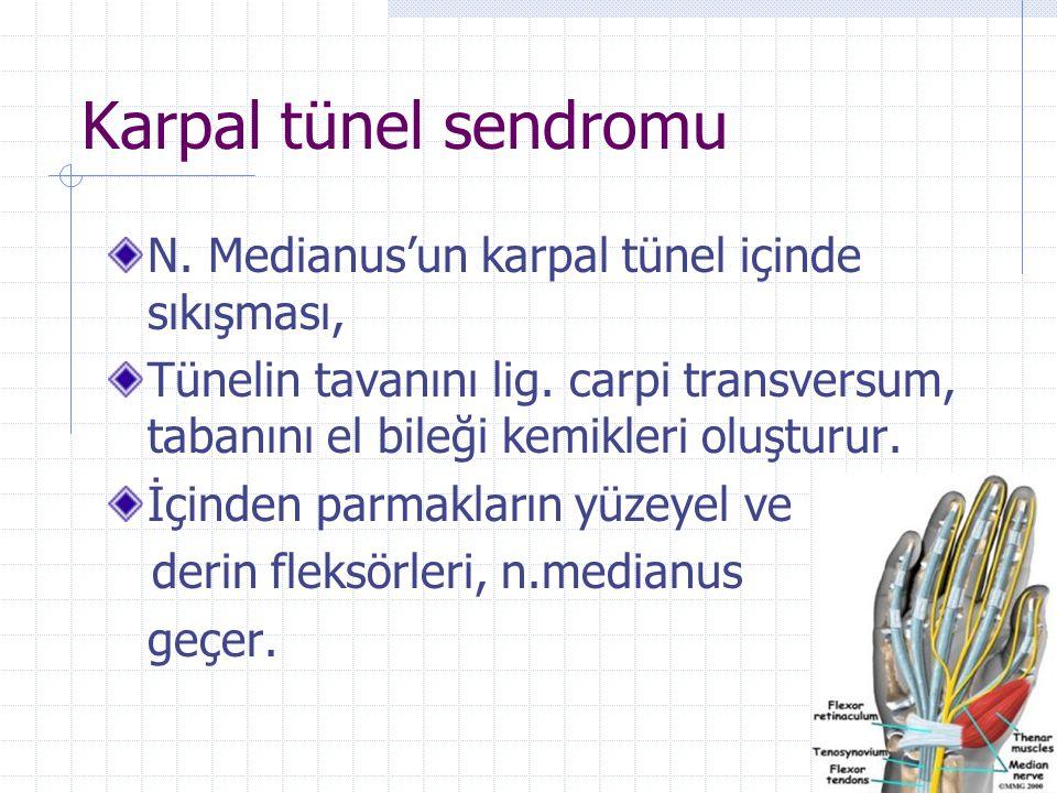 Karpal tünel sendromu N. Medianus'un karpal tünel içinde sıkışması,