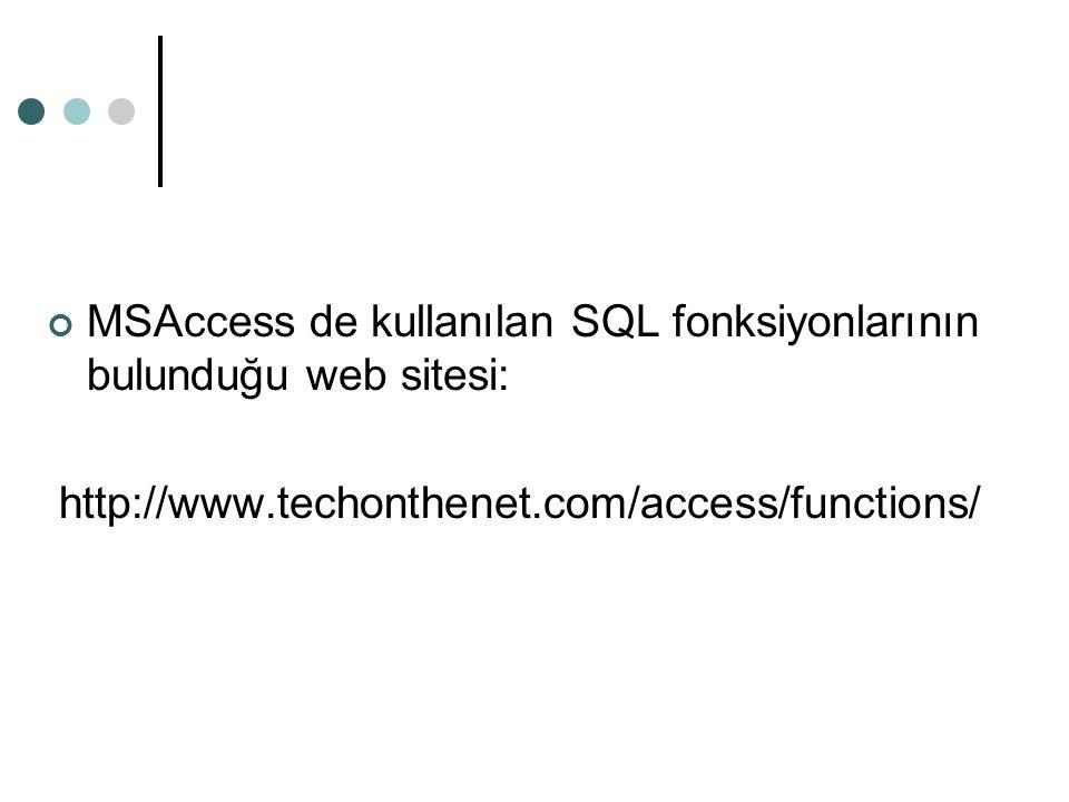 MSAccess de kullanılan SQL fonksiyonlarının bulunduğu web sitesi: