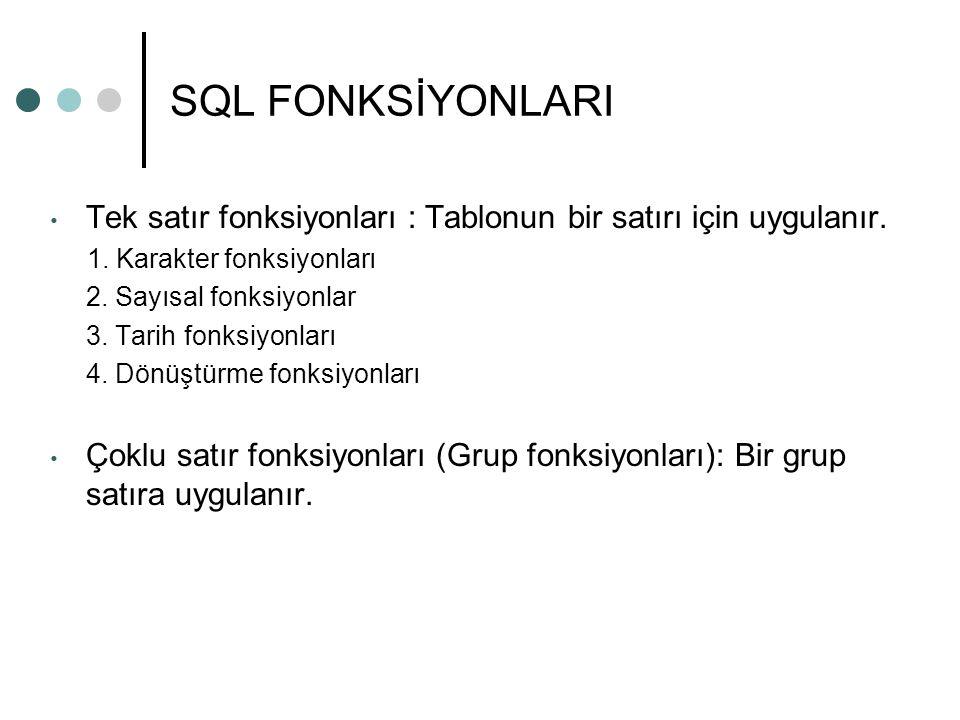 SQL FONKSİYONLARI Tek satır fonksiyonları : Tablonun bir satırı için uygulanır. 1. Karakter fonksiyonları.
