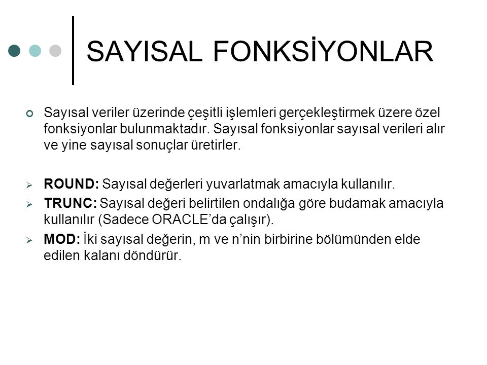 SAYISAL FONKSİYONLAR
