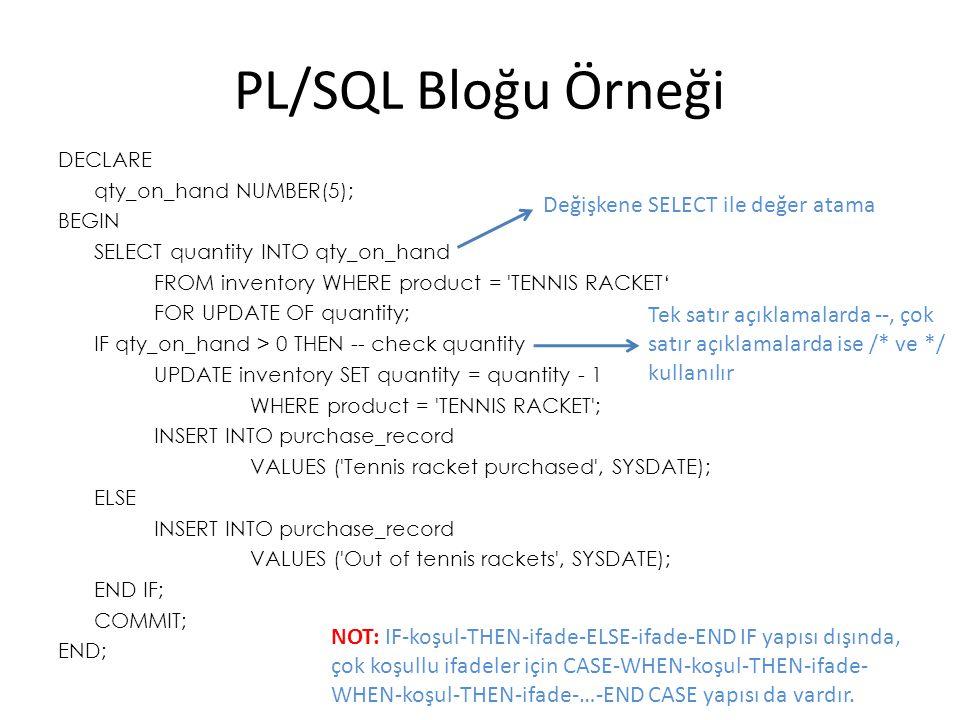 PL/SQL Bloğu Örneği Değişkene SELECT ile değer atama