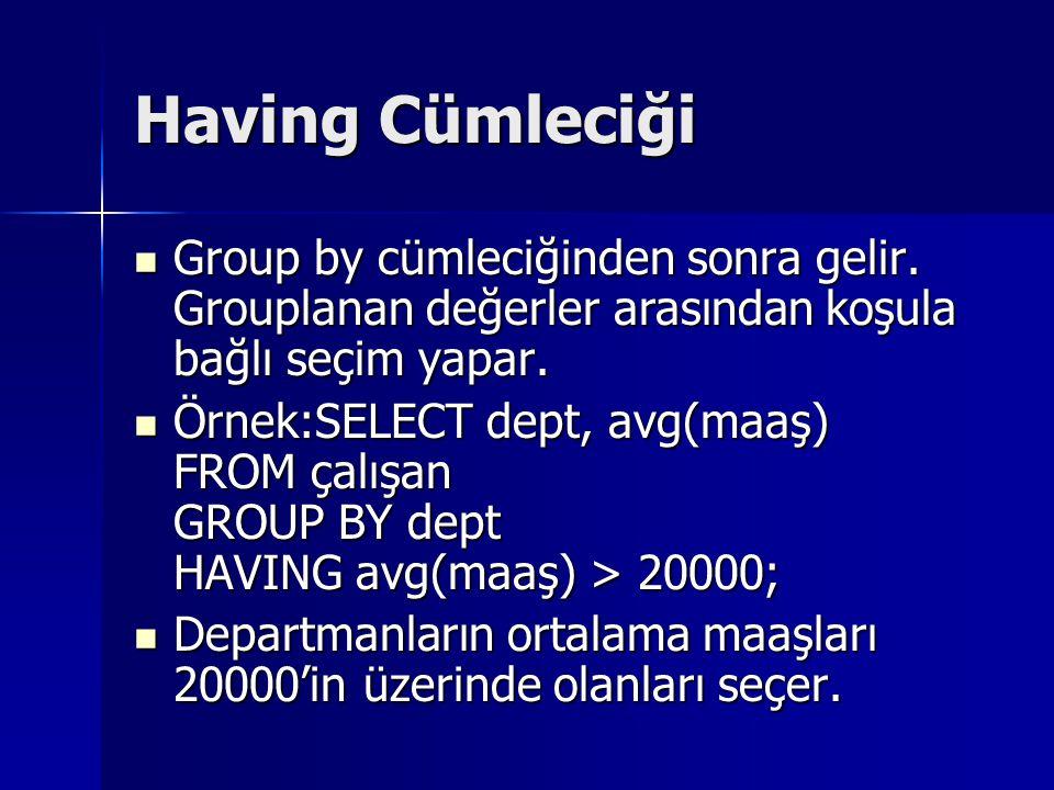 Having Cümleciği Group by cümleciğinden sonra gelir. Grouplanan değerler arasından koşula bağlı seçim yapar.