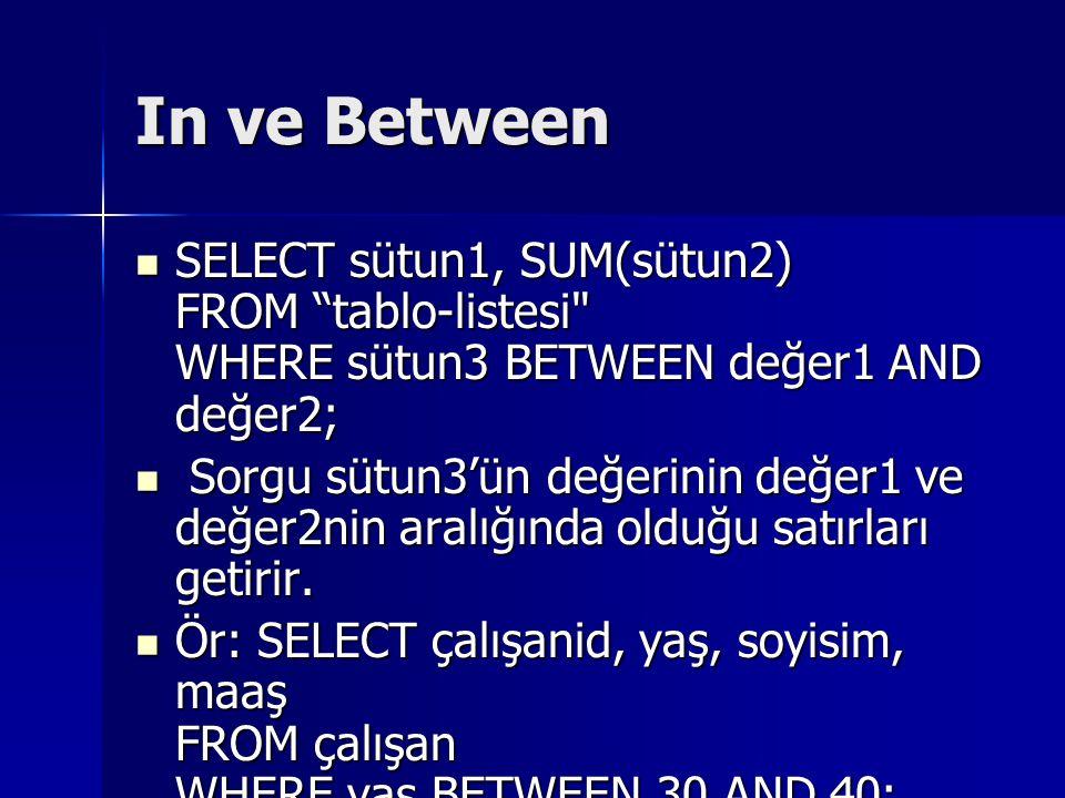 In ve Between SELECT sütun1, SUM(sütun2) FROM tablo-listesi WHERE sütun3 BETWEEN değer1 AND değer2;