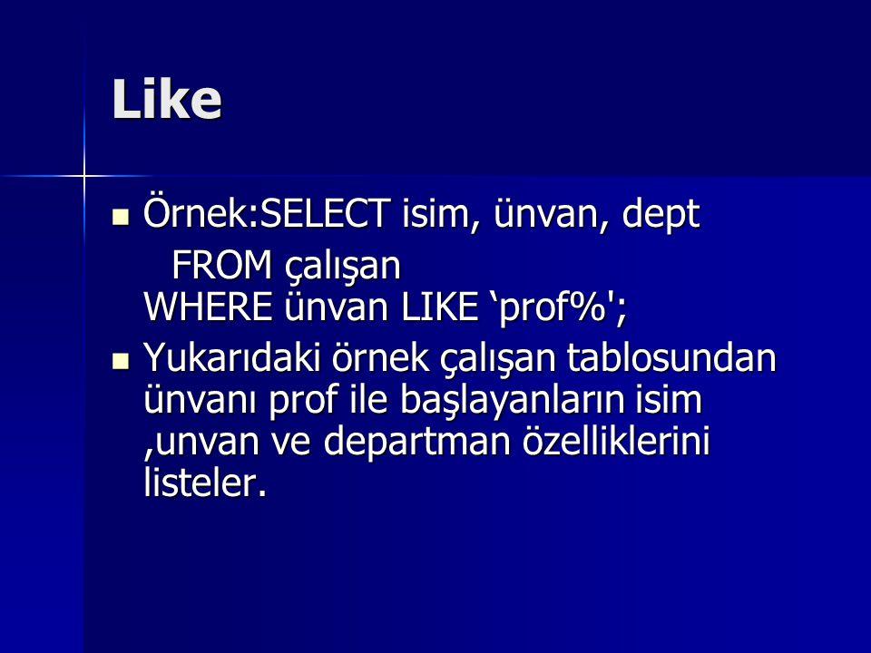 Like Örnek:SELECT isim, ünvan, dept
