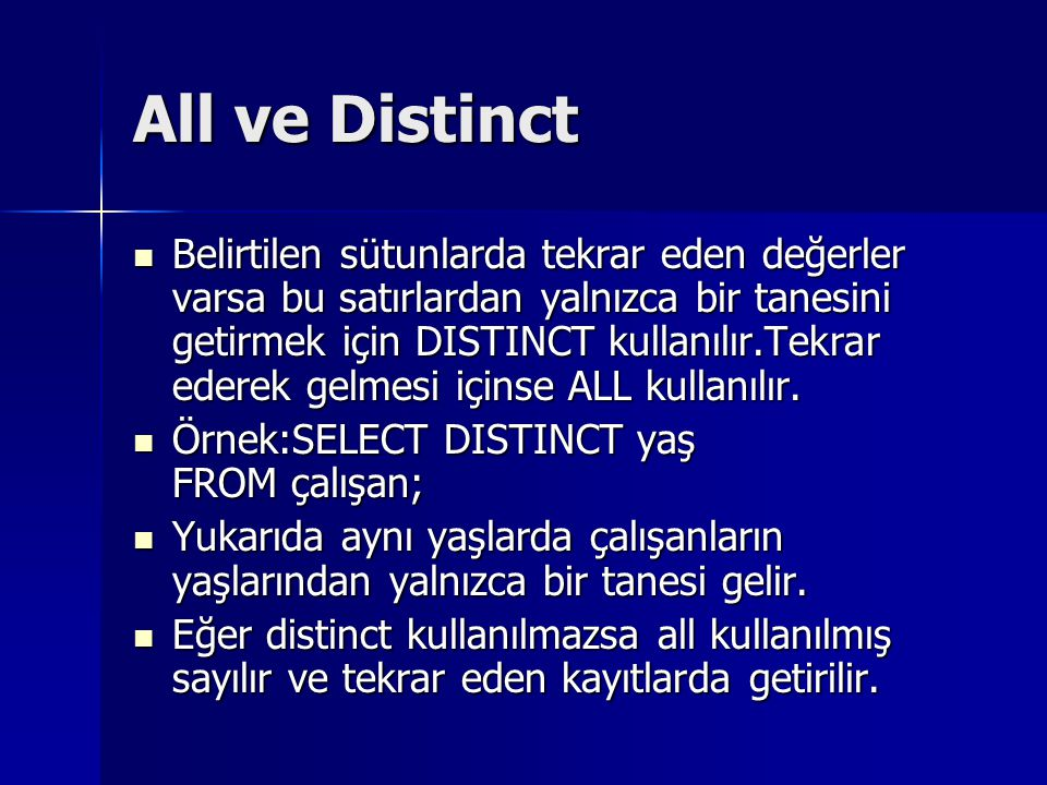 All ve Distinct