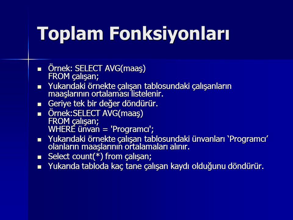 Toplam Fonksiyonları Örnek: SELECT AVG(maaş) FROM çalışan;