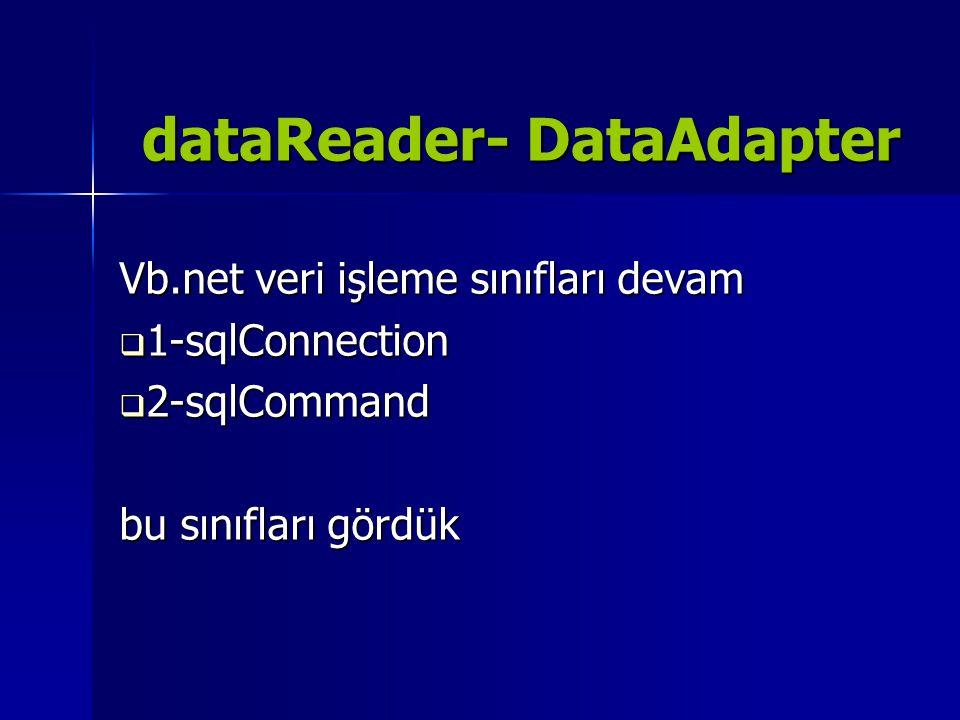 dataReader- DataAdapter