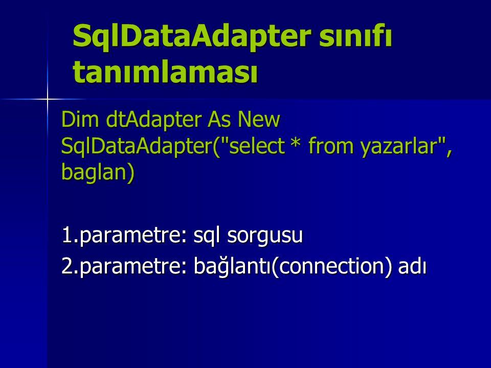 SqlDataAdapter sınıfı tanımlaması