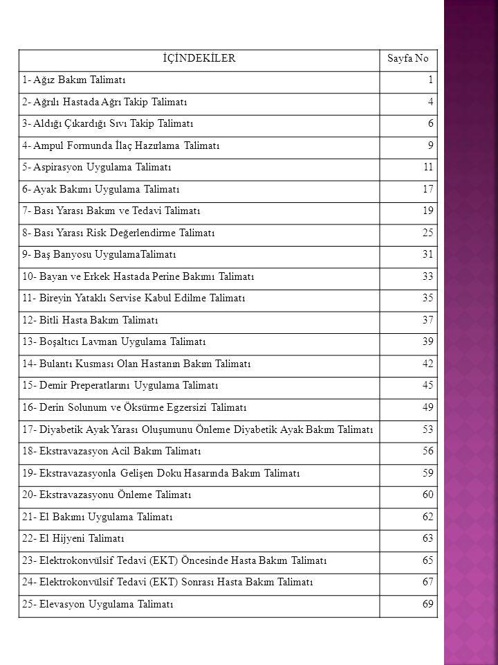 İÇİNDEKİLER Sayfa No. 1- Ağız Bakım Talimatı. 1. 2- Ağrılı Hastada Ağrı Takip Talimatı. 4. 3- Aldığı Çıkardığı Sıvı Takip Talimatı.