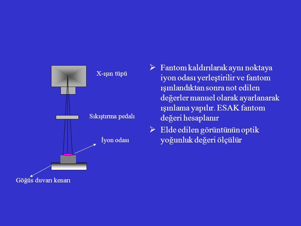 Elde edilen görüntünün optik yoğunluk değeri ölçülür