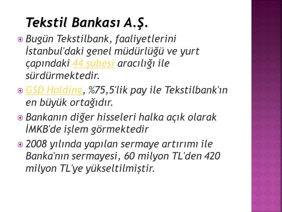 Tekstil Bankası A.Ş. Bugün Tekstilbank, faaliyetlerini İstanbul daki genel müdürlüğü ve yurt çapındaki 44 şubesi aracılığı ile sürdürmektedir.