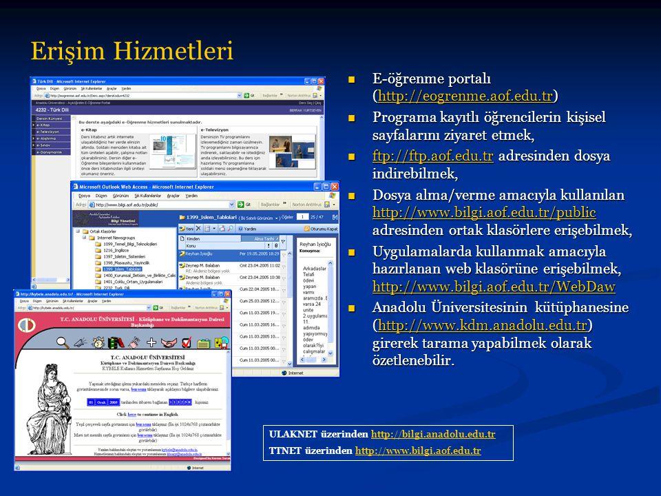 Erişim Hizmetleri E-öğrenme portalı (http://eogrenme.aof.edu.tr)