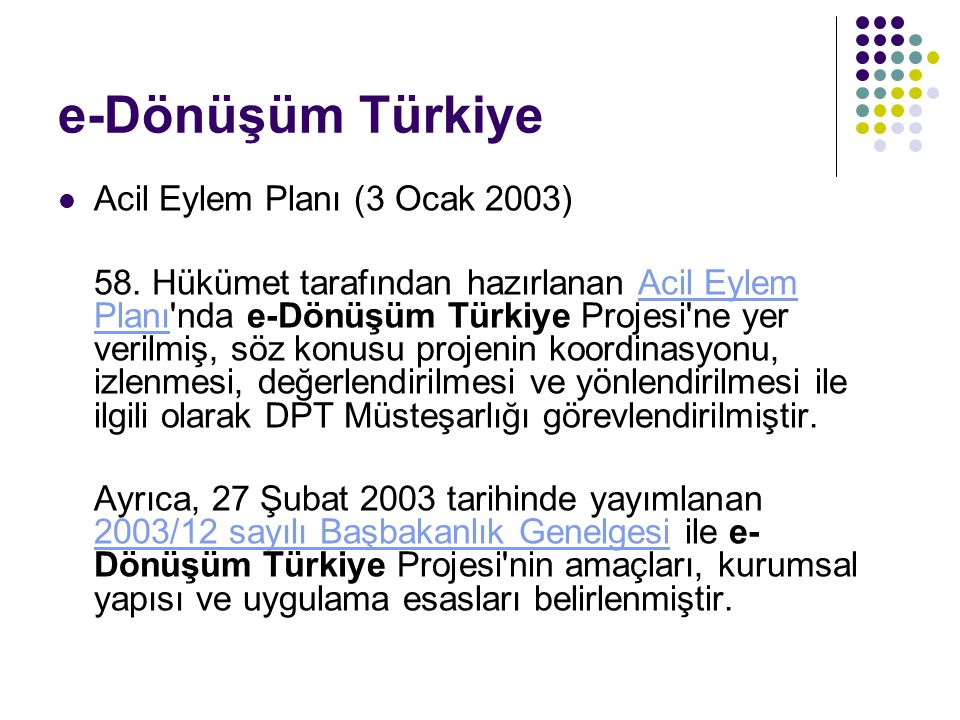 e-Dönüşüm Türkiye Acil Eylem Planı (3 Ocak 2003)