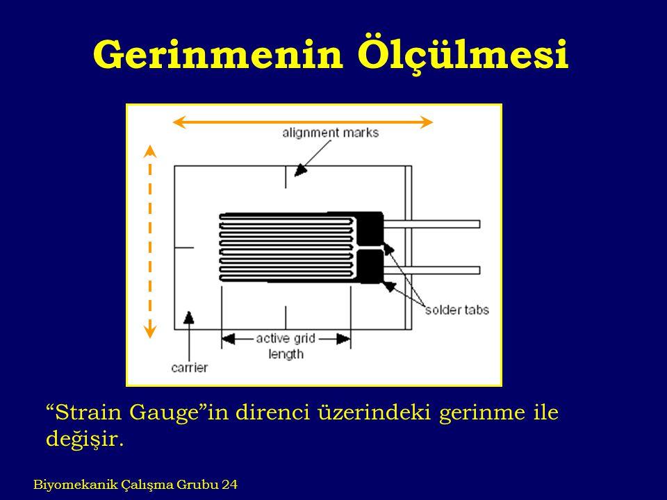 Gerinmenin Ölçülmesi Strain Gauge in direnci üzerindeki gerinme ile değişir.