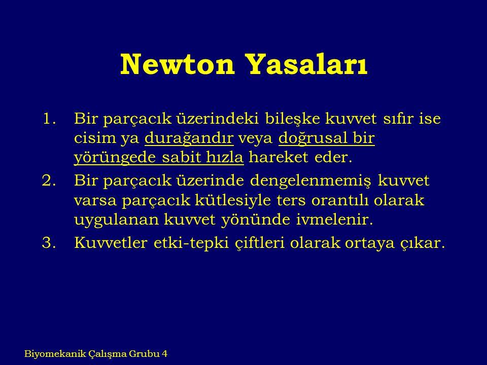 Newton Yasaları Bir parçacık üzerindeki bileşke kuvvet sıfır ise cisim ya durağandır veya doğrusal bir yörüngede sabit hızla hareket eder.