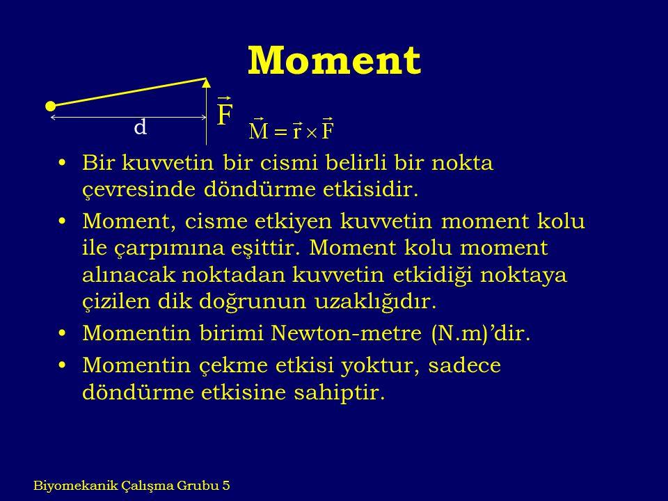 Moment d. Bir kuvvetin bir cismi belirli bir nokta çevresinde döndürme etkisidir.